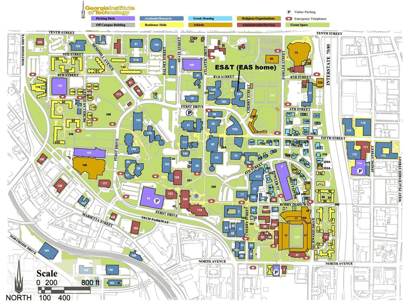Campus Map Georgia Tech.Gatech Zemėlapis Georgia Institute Of Technology Zemėlapis